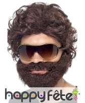 Perruque lunettes barbe brune