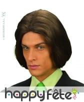 Perruque longue chevelure chatain pour homme