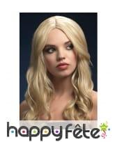 Perruque logue ondulée blonde