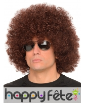 Perruque marron afro taille adulte