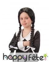 Perruque Mercredi Addams pour enfant