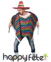Poncho multicolore avec franges