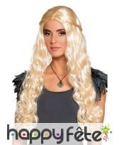 Perruque médiévale longs cheveux blonds ondulés