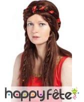 Perruque médiévale marron avec tresses et couronne