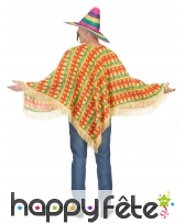 Poncho mexicain rayures piments pour adulte, image 2