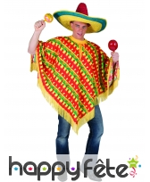 Poncho mexicain rayures piments pour adulte, image 3