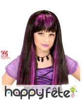 Perruque noire avec mèches violettes pour enfant