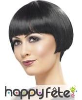 Perruque noire cheveux courts