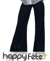 Pantalon noir disco bords en sequins, pour femme