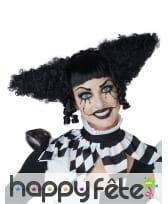Perruque noire de clown fou pour femme