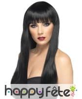 Perruque noire lisse avec frange, cheveux longs