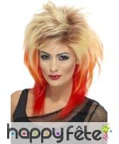 Perruque nuque longue des années 80, blonde