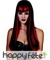 Perruque noire mèches rouges, ondulée, image 1