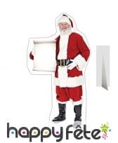 Père Noël plat portant une carte à compléter