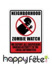 Panneau Neighborhood Zombie Watch de 43cm
