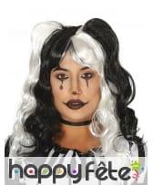Perruque ondulée bicolore noir et blanc, femme