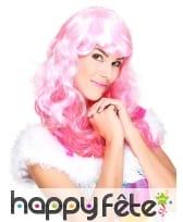 Perruque ondulée rose glamour