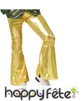Pantalon patte d'éléphant doré pour homme