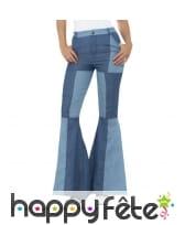 Pantalon patte d'eph patchwork jeans pour femme