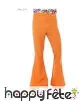 Pantalon pattes d'eph orange pour homme