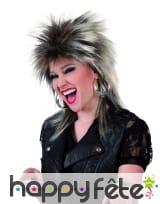 Perruque punk rock brune avec mèches blondes