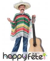 Poncho rayé aux couleurs du Mexique pour enfant