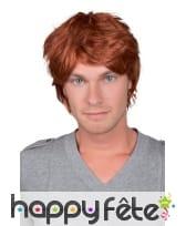 Perruque rousse courte pour homme adulte
