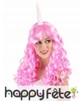 Perruque rose de licorne avec corne, adulte