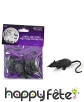 Petits rats décoratifs noirs de 8cm