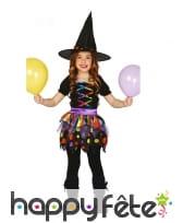 Petite robe noire colorée de sorcière pour enfant