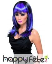 Perruque sorciere lisse noir/violet, image 1
