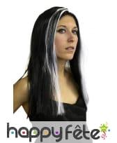 Perruque sorcière long cheveux noir mèche blanche