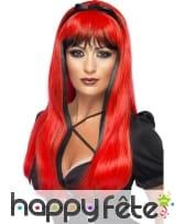 Perruque sorcière noir et rouge