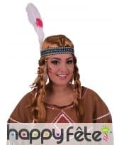 Perruque tressée châtain d'indienne avec bandeau