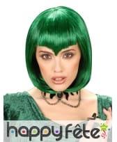 Perruque verte courte avec frange en pointe