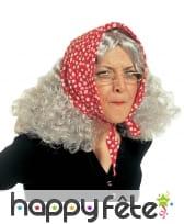 Perruque vieille dame avec foulard, image 1