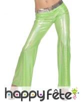 Pantalon vert holographique disco pour femme