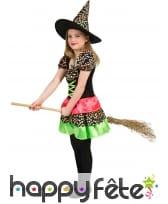 Robe à pois multicolore de sorcière pour fille