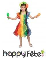 Robe brésilienne arc en ciel pour enfant