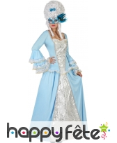 Robe baroque bleue et blanche pour femme