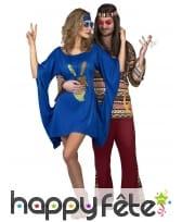 Robe bleue de hippie manches évasées, image 3