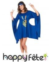 Robe bleue de hippie manches évasées, image 4
