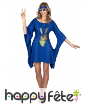 Robe bleue de hippie manches évasées