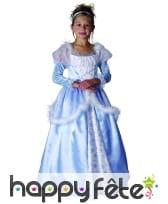 Robe bleue de princesse pour enfant avec froufrous