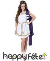 Robe blanche grecque avec toge violette pour femme
