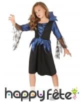 Robe bleue noir manches araignées pour fillette, image 1
