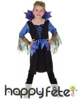 Robe bleue noir manches araignées pour fillette, image 3