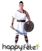 Robe blanche romaine mi-longue pour homme
