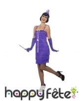 Robe courte charleston à franges, violette