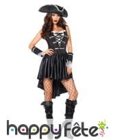 Robe courte corset noire de femme pirate